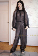 crossdresser Overall Schlafanzug Schwarz für  Sissy aus Nylon