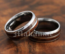 8mm Oval Comfort Fit  Tungsten Inlaid  Koa Wood Double Row  Wedding Ring