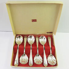 Vintage Rodd Acanthus Silverplate Clam/Shell Sweet Spoons Cutlery 6 pc Set Boxed