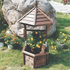 Wishing Well Flower Planter Burntwood Finish Garden Wooden Decoration ZLY-95515