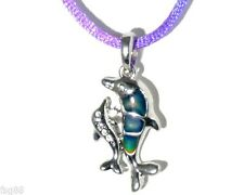 NEW Rhinestone Double Dolphin  Color Change Heat Thermo Mood Pendant  Necklace