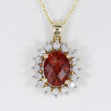 $1,695 Vintage 14K Yellow Gold Citrine Diamond Pendant Necklace 18'' Link Chain