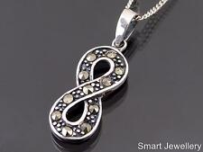 925 STERLING SILVER INFINITY SYMBOL MARCASITE PENDANT NECKLACE