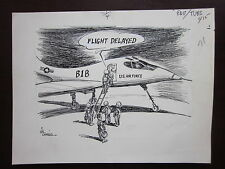 Bill Canfield Original Political Cartoon B1B Bomber Delay 70's Signed Authentic