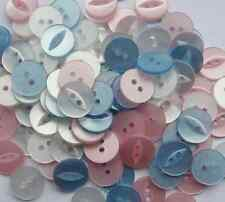 NEW ASSORTED PACK OF 100 X  FISHEYE BABY BUTTONS SIZE 22 (14mm) PINK WHITE BLUE