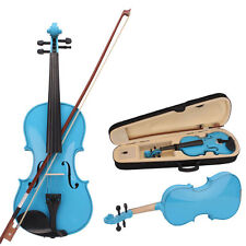 New Acoustic Violin 1/4 size Blue + Case+ Bow + Rosin for kids 6-8 years old
