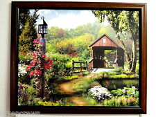 COVERED WOOD BRIDGE PICTURE FLOWERS BUTTERFLIES FROG FRAMED PRINT 16X20