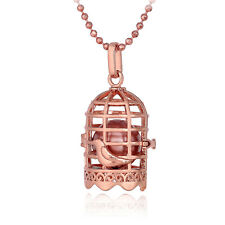 Openable Bird Cage With Copper Ball Bronze Women Bronze Plate Pendant Necklace
