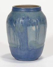 Newcomb College Pottery Moon & Moss Landscape vase Arts & Craft matte blue green