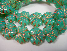 10 beads - Turquoise Opal Czech Glass Maple Leaf Beads 11x12mm