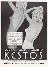 PUBLICITE  KESTOS SEXY WOMAM  LINGERIE SOUTIEN GORGE BRA   AD 1936 - 2h
