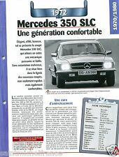 Mercedes 350 SLC Coupe 8 Cyl. 1972 Germany Allemagne Car Auto Retro FICHE FRANCE