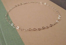 "925 Sterling Silver 16"" 2mm Heart Link Necklace~ New"
