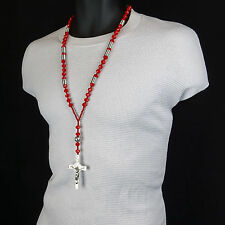 Mens Hip Hop 8mm SILVER & RED Crystal Glass Cut Rosary Jesus Cross COIL Necklace