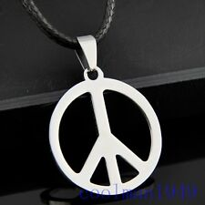 Peace sign Pendant Stainless Steel Necklace ST34