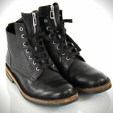Christian DIOR HOMME Zippered Tongue Chukka Black Leather Canvas Wood Boots 43