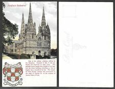 Old Postcard - Great Britain Heraldry, Coat of Arms - Lichfield Cathedral