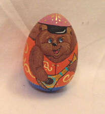 MOCKBA (MOSCOW)  RUSSIAN EGG SHAPED FIGURINE HAND PAINTED BEAR UKELE