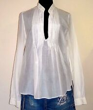 RALPH LAUREN POLO JEANS Light Ivory Semi-Sheer Cotton & Silk Blend Top - Medium