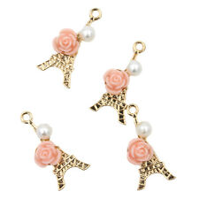 50x Jewelry Makings Craft Alloy Gold Plated Flower&Pearls Tower Pendant Charms J
