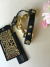 Authentic BIBA Black Leather & Gold Hardware Chain Cuff Bracelet Wristlet BNWT