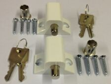 PATONS WHITE  Patio Door Bolts X2 C/W 4 KEYS 10 year warranty quality product
