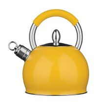 3 Ltr Yellow Whistling Kettle Stainless Steel Finish With Heat Resistant Handle