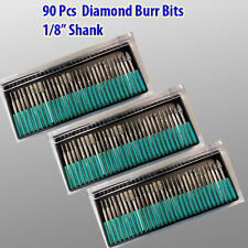 "90 Pcs Diamond Burr Bits For Dremel Craftsman Rotary Tool 1/8"" Shanks w/ Box Tip"