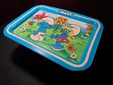 VINTAGE SMURF SMURFS RETRO METAL TV LAP TRAY 1980s COLLECTIBLE SEPP PEYO CARTOON