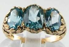 HEAVENLY  9CT  VICT SKY BLUE TOPAZ  3 STONE RING 3.60CT