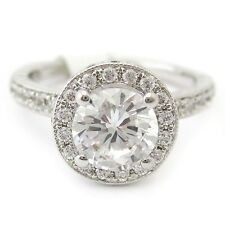 1.56CTW ROUND CUT ANTIQUE STYLE DIAMOND ENGAGEMENT RING W HALO AR15