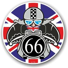 Retro Cafe Racer 1966 Ton Up Club Union Jack Flag Roundel vinyl car bike sticker