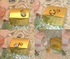 LOT of FOUR ~ ESTEE LAUDER CHARM s ~  Giftbox ~ Star ~ Heart ~ Ring ~ Goldtone