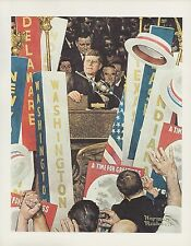 "1977 VINTAGE ""A TIME FOR GREATNESS"" JFK NORMAN ROCKWELL MINI POSTER COLOR Litho"