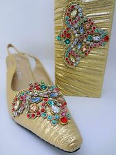 Metallic Gold Satin Slingback Shoes 10 Purse Kitten Heel Multicolor Applique