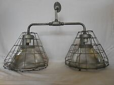 RARE Vintage Industrial Light  Holophane old ceiling Barn Shade pendant dbl cage