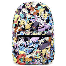 "Pokemon Large School Backpack Pokemon Eevee Evolution All Over Prints 17"" Bag"