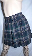 Gap Green Plaid 100% Wool Punk Sexy Schoolgirl A Line Mini Skirt Size 2