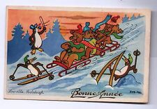 Carte postale ROB-VEL. Zooville. BOBSLEIGH. Pingouins. Début 50.