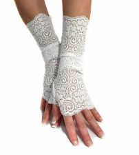 SEXY WHITE STRETCHY LACE CUFFS FINGERLESS GLOVES MF4047 ARM WARMERS