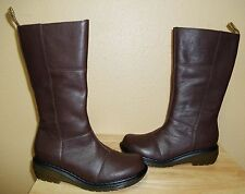 New DR MARTENS Charla Women's Tall Brown Leather Side Zip Boots US 6/EU 37/UK 4