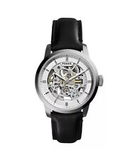Fossil ME3085 Townsman Mechanical Automatic Skeleton Black Leather Silver Watch