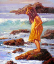 Beautiful Oil painting lovely little girl playing by beach & ocean waves rocks