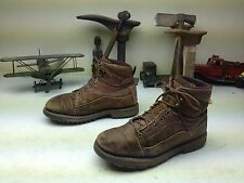 BROWN LEATHER DISTRESSED DIE HARD WORK CHORE LACE UP BOOTS SIZE 9 D