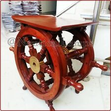 "Nautical Marine Wooden Ship Wheel Table 18"" Brass Ring Boat Steering Collectible"