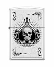 "Zippo ""Ace of Spades-Skull"" Lighter, White Matte, ***Flints & Wick***  8011"