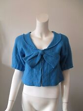 Anthropologie LEIFSDOTTIR Blue Bow Front Cropped Wool Sweater fits XS