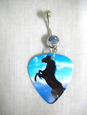 NEW REARING STALLION HORSE PHOTO PRINTED GUITAR PICK CZ BELLY RING NAVEL BAR