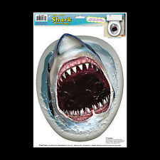 Funny LAND SHARK TOILET LID TOPPER Sticker Cling Bathroom Pirate Sharknado Decor