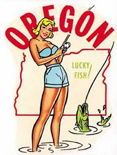 Oregon  Pin-Up  OR   Vintage Looking  Travel Decal  Sticker Label